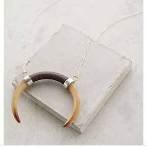Anthropologie Horn Crescent Pendant Necklace